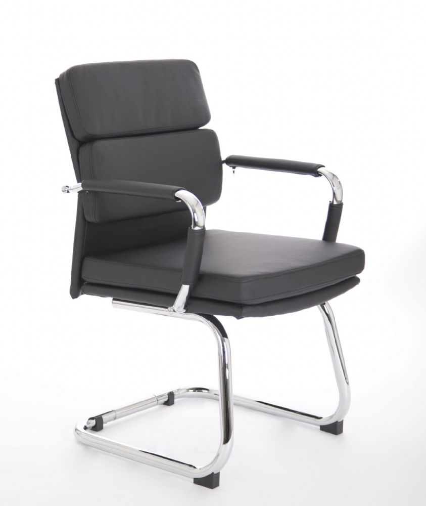 Advocate Executive Cantilever Visitor Chair Chrome Frame Leather Arm Sleeves Black Bonded Leather